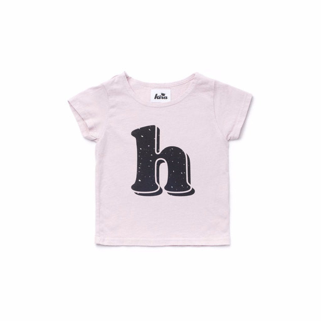 Alphabet T-shirt: H, Light Pink