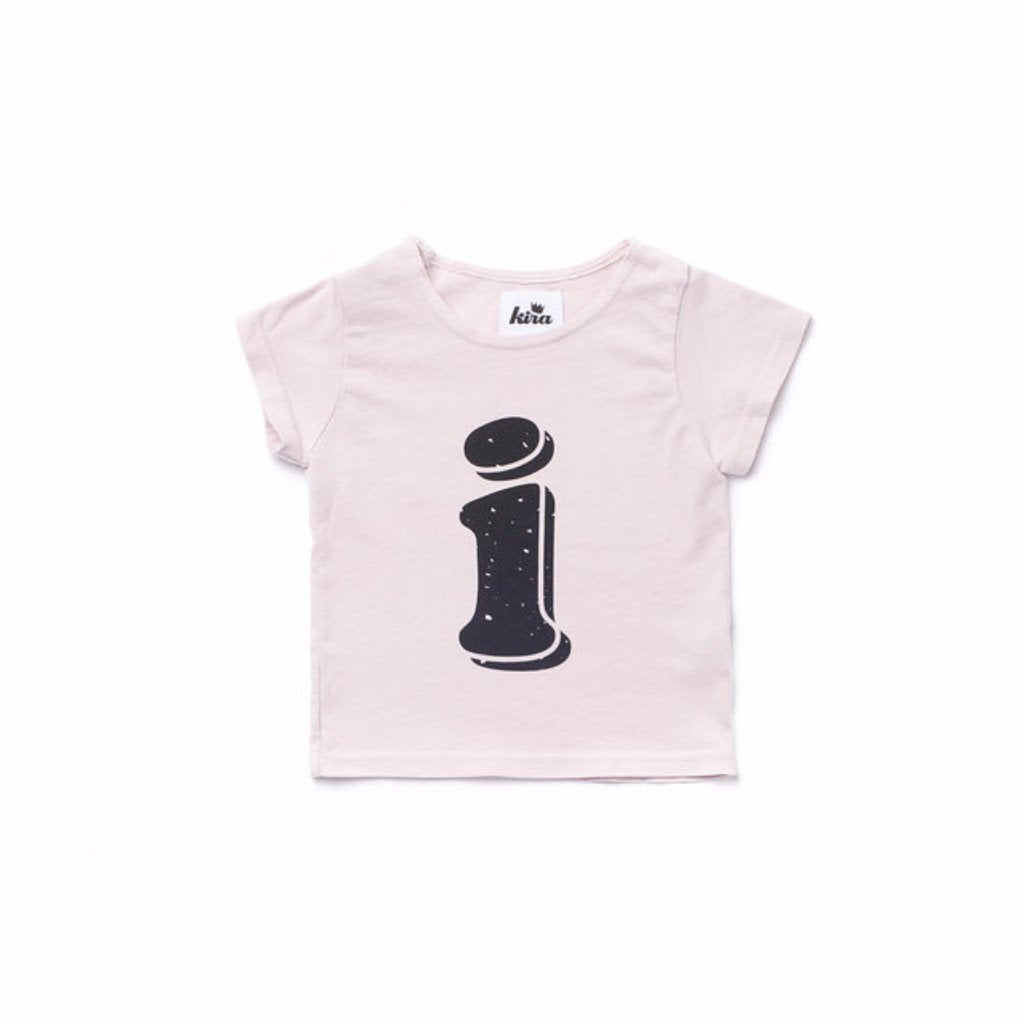Alphabet T-shirt: i, Light Pink