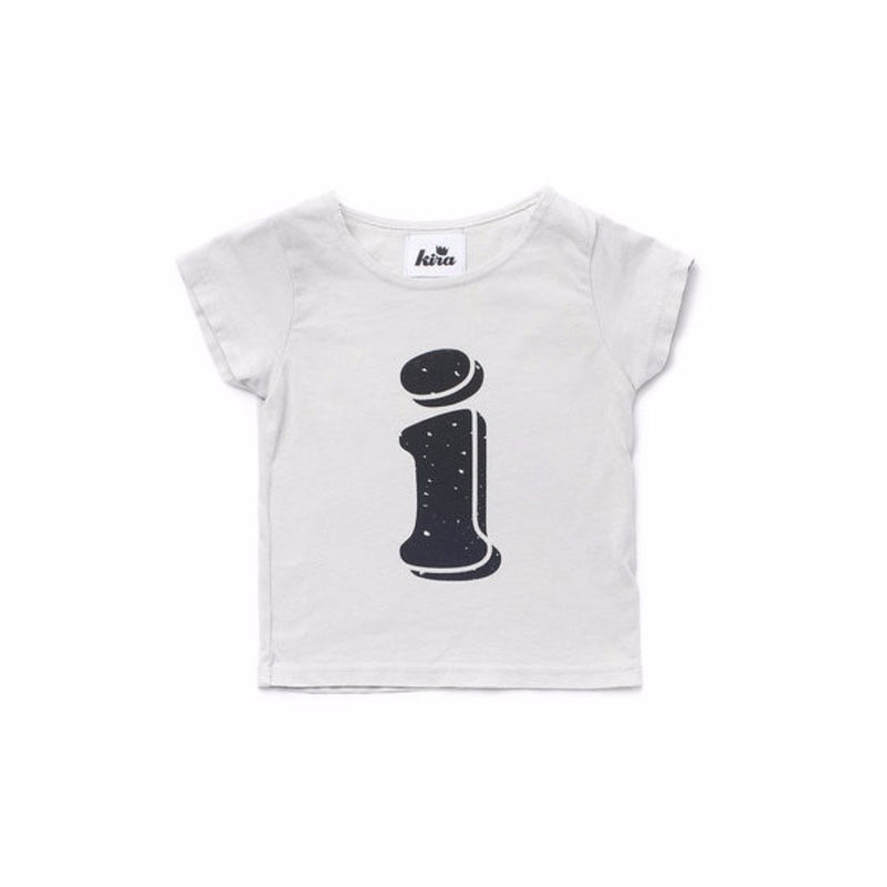 Alphabet T-shirt: i, Light Grey