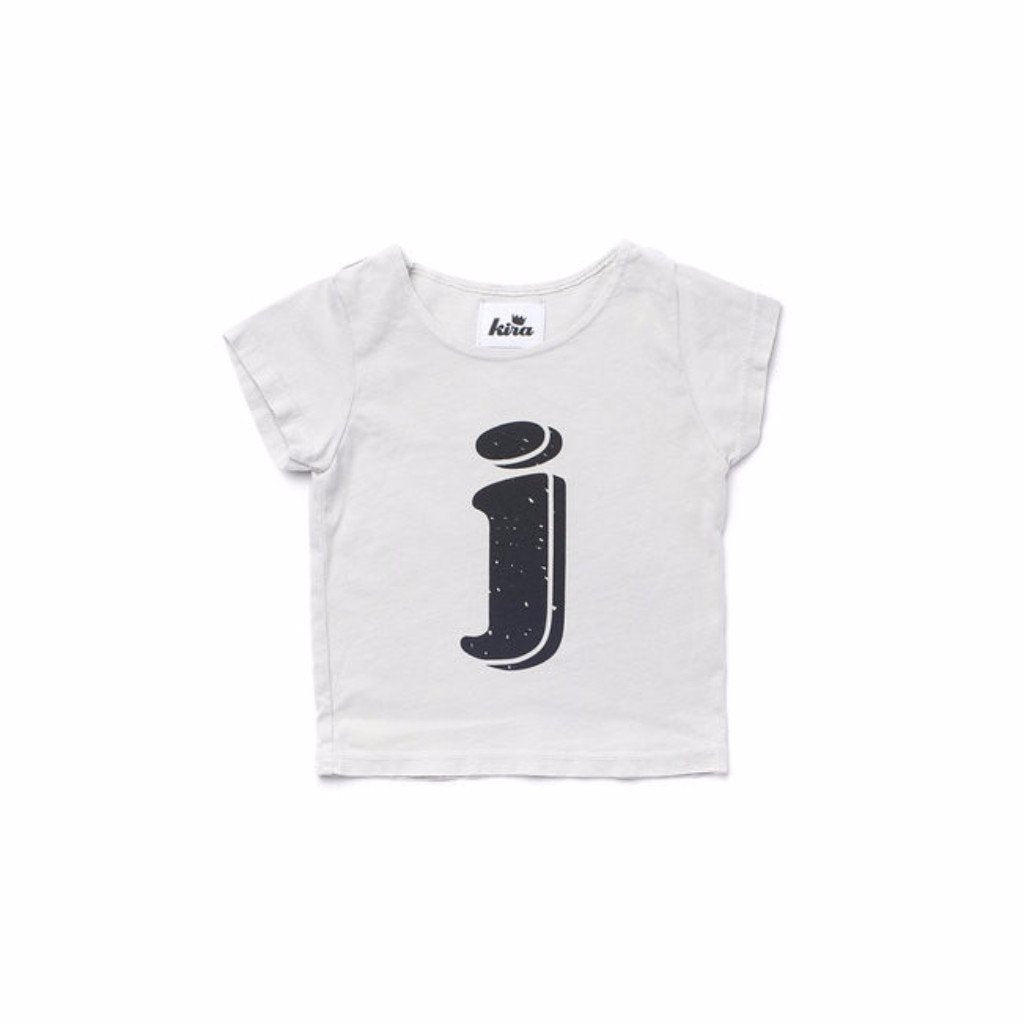 Alphabet T-shirt: J, Light Grey