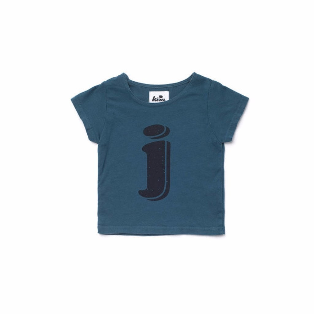 Alphabet T-shirt: J, Dark Teal