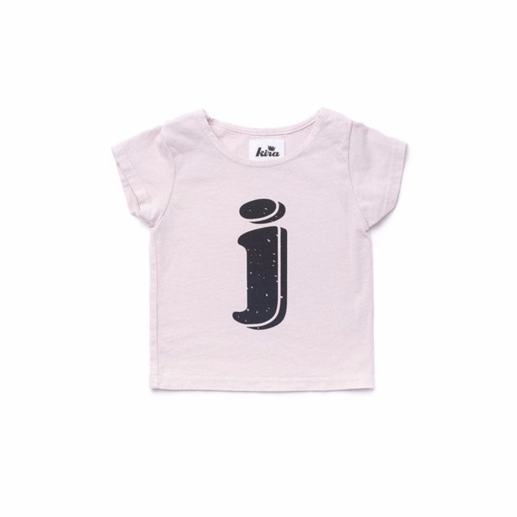 Alphabet T-shirt: J, Light Pink