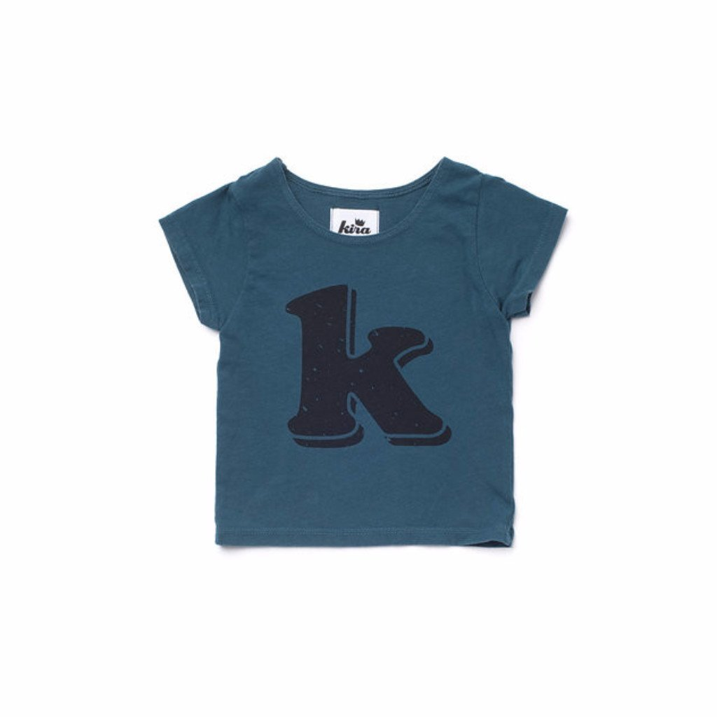 Alphabet T-shirt: K, Dark Teal
