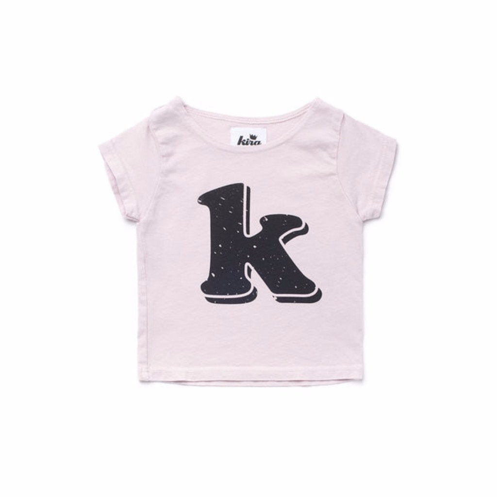 Alphabet T-shirt: K, Light Pink