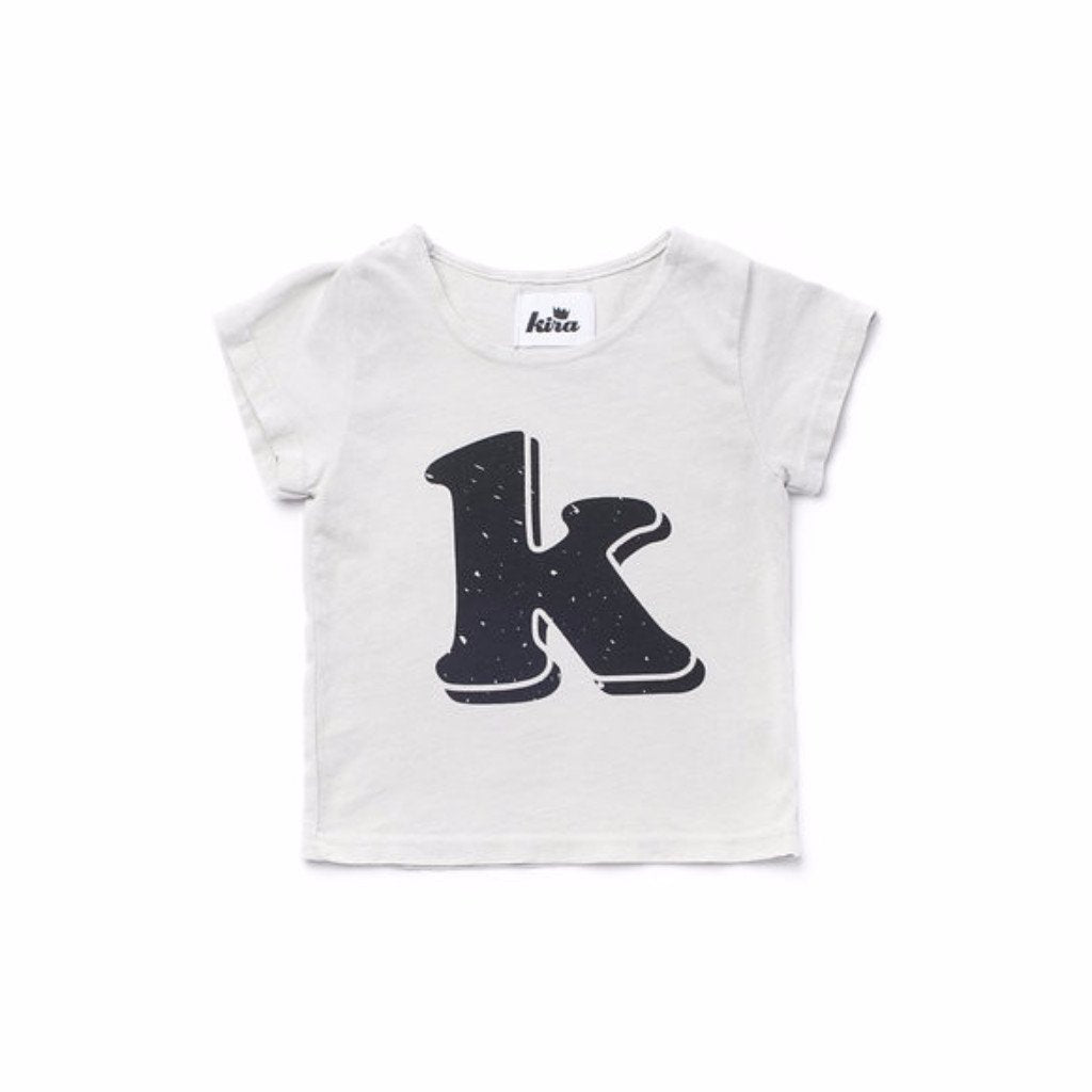 Alphabet T-shirt: K, Light Grey
