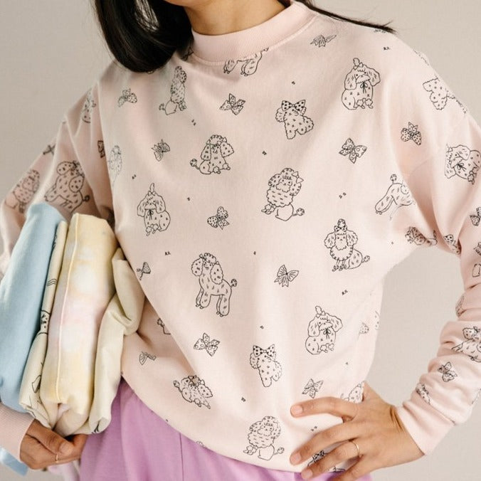 Adult Poodle Crew Neck Sweatshirt, Powder Pink
