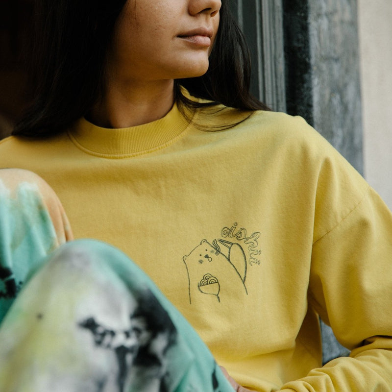 Adult Oishii Crew Neck Sweatshirt, Maize Yellow