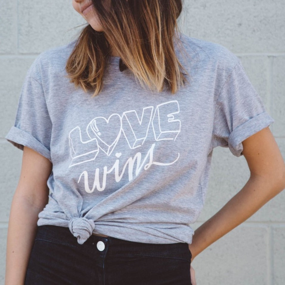 ADULT Love Wins Graphic T-shirt, Heather Grey