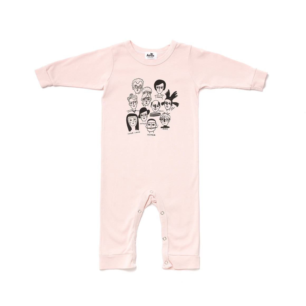 Artists in History Graphic Romper, Long Sleeve, Powder Pink