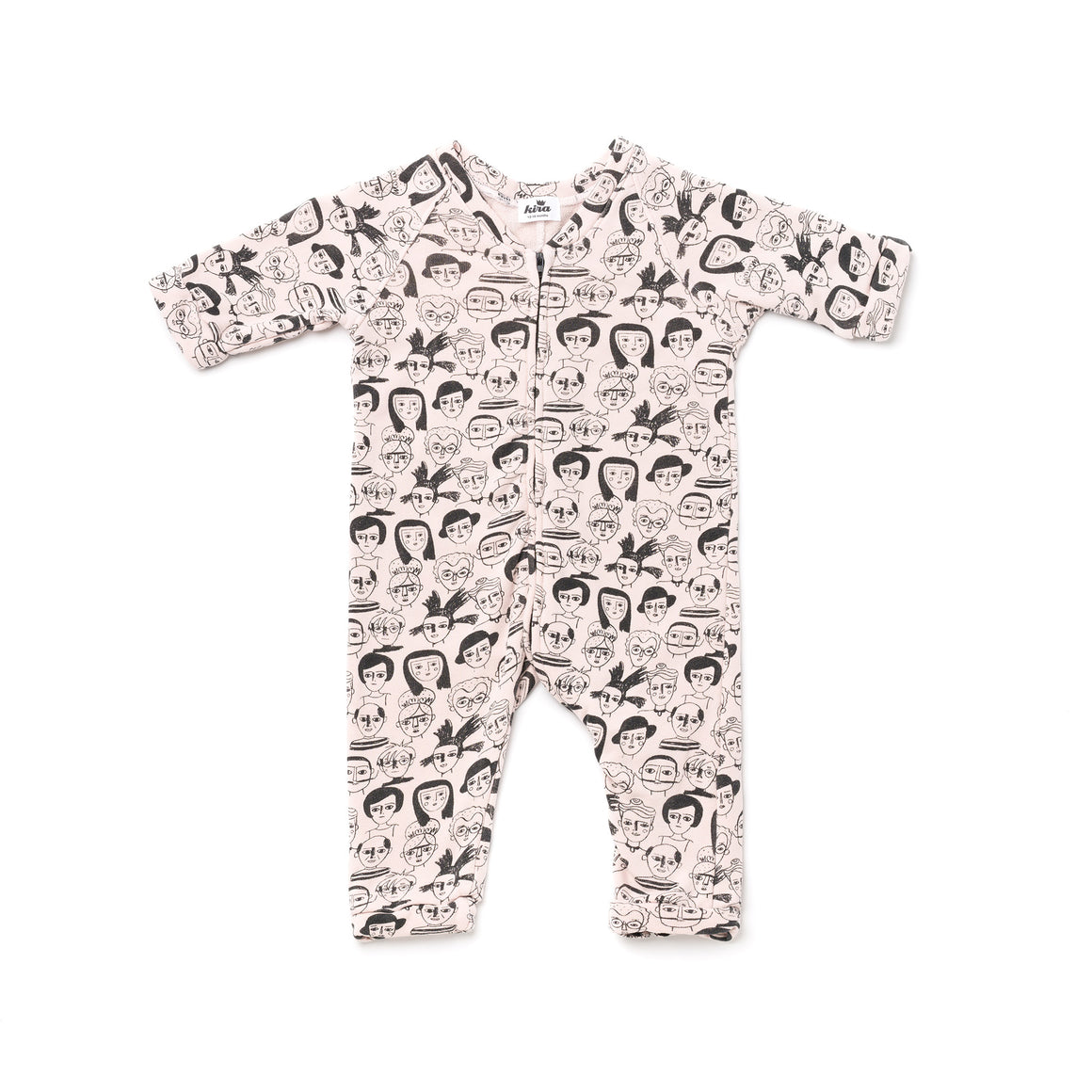 Artists Print Zip Sweatshirt Romper, Powder Pink