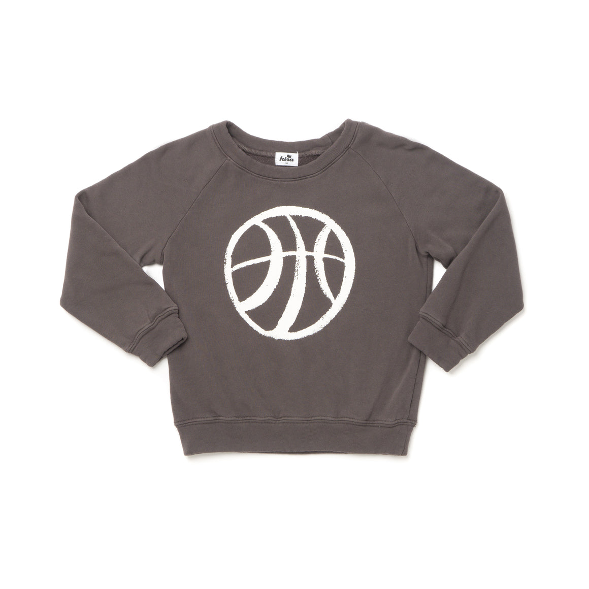 Basketball Graphic Raglan Sweatshirt, Slate Grey