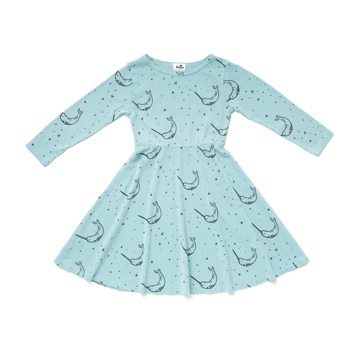Narwhal Print Skater Dress, Long Sleeve, Ice