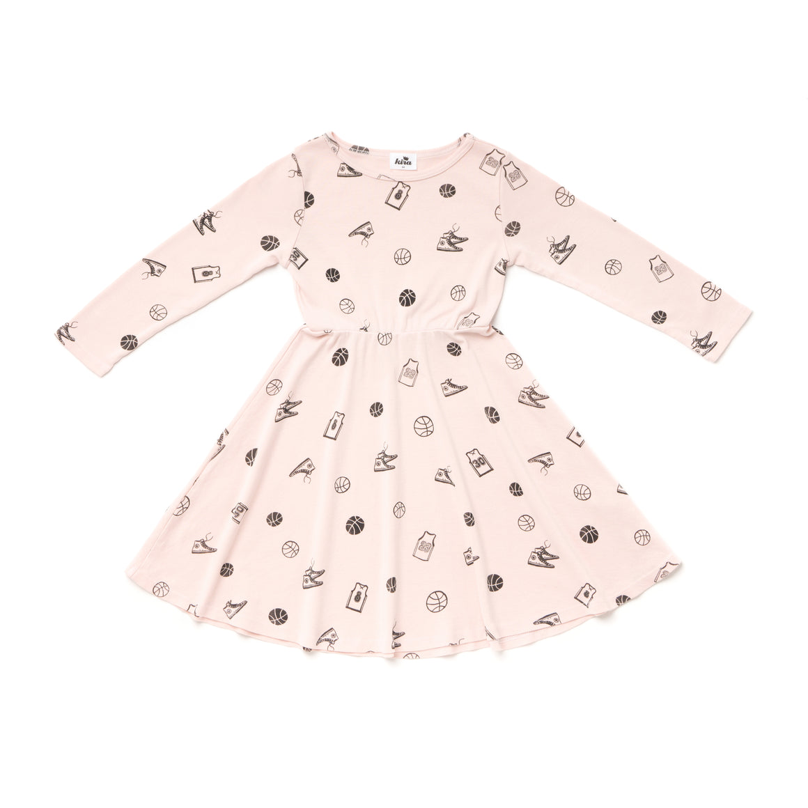 Basketball Print Skater Dress, Long Sleeve, Powder Pink
