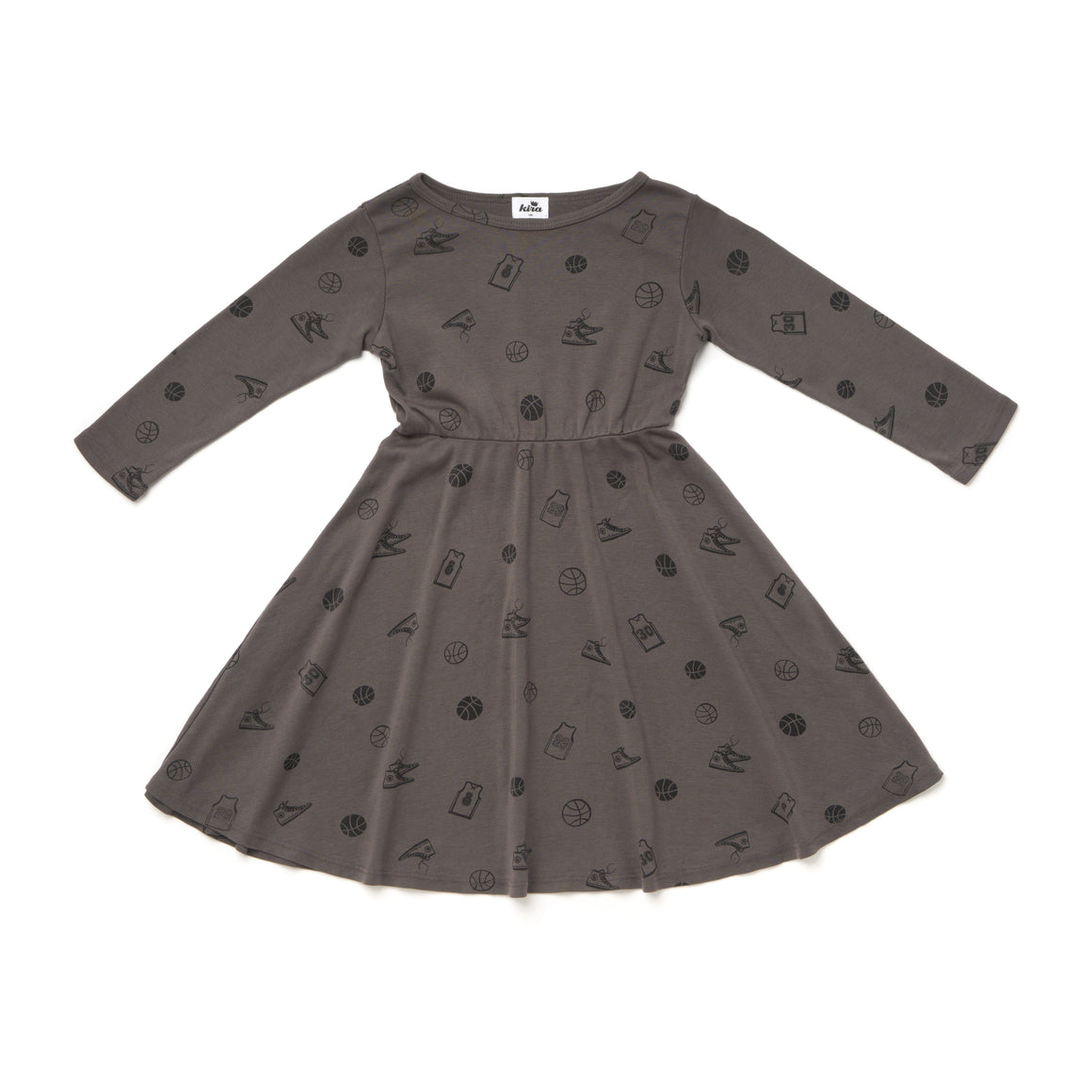 Basketball Print Skater Dress, Long Sleeve, Slate Grey