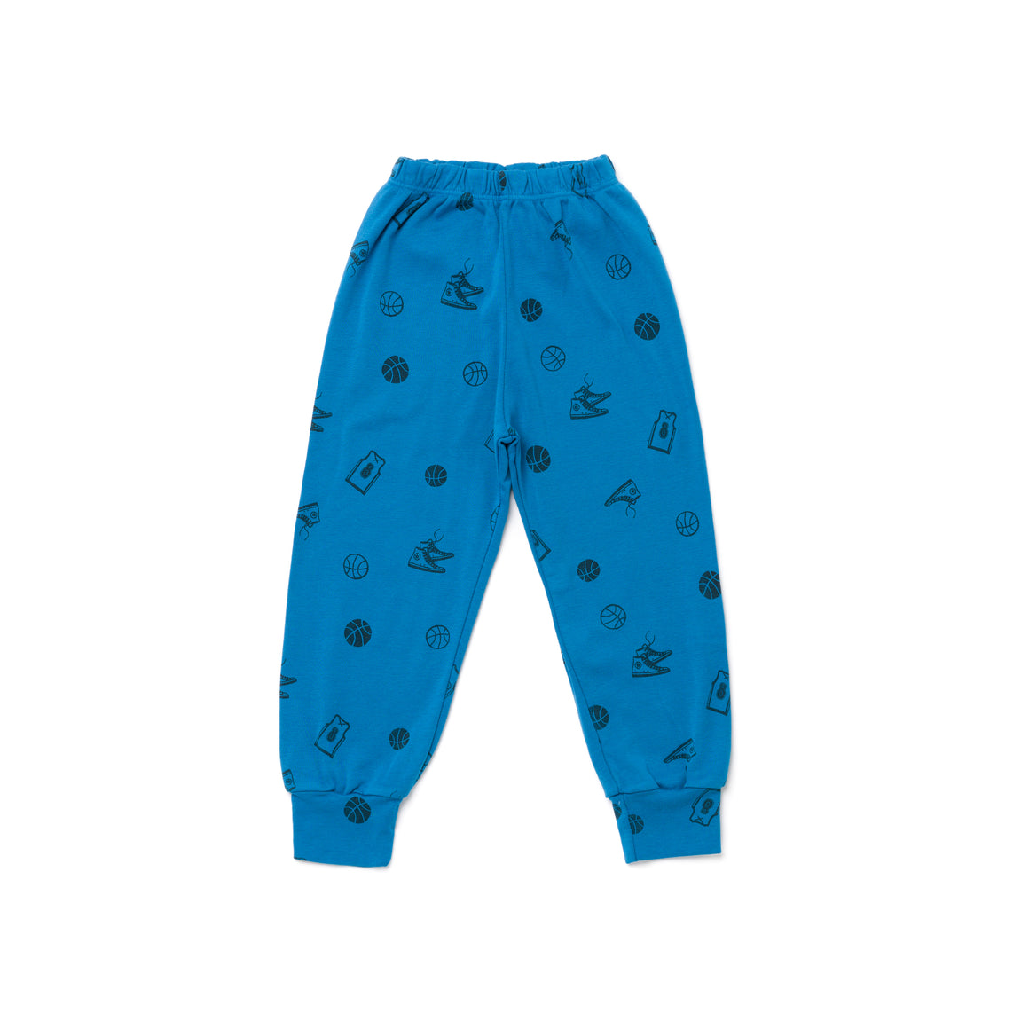 Basketball Print Bubble Leggings, Ocean Blue