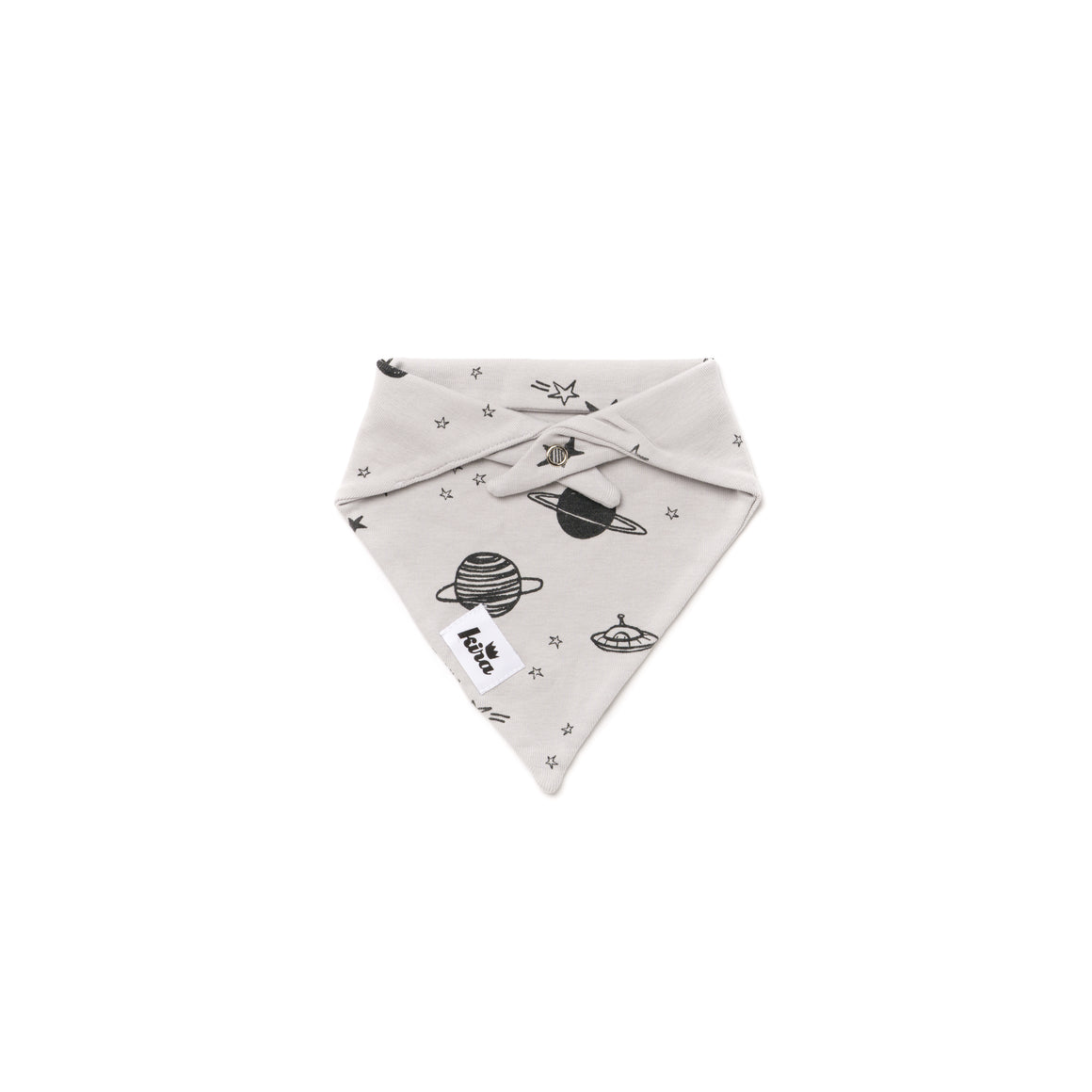 Cosmos Print Bandana Bib, Light Grey