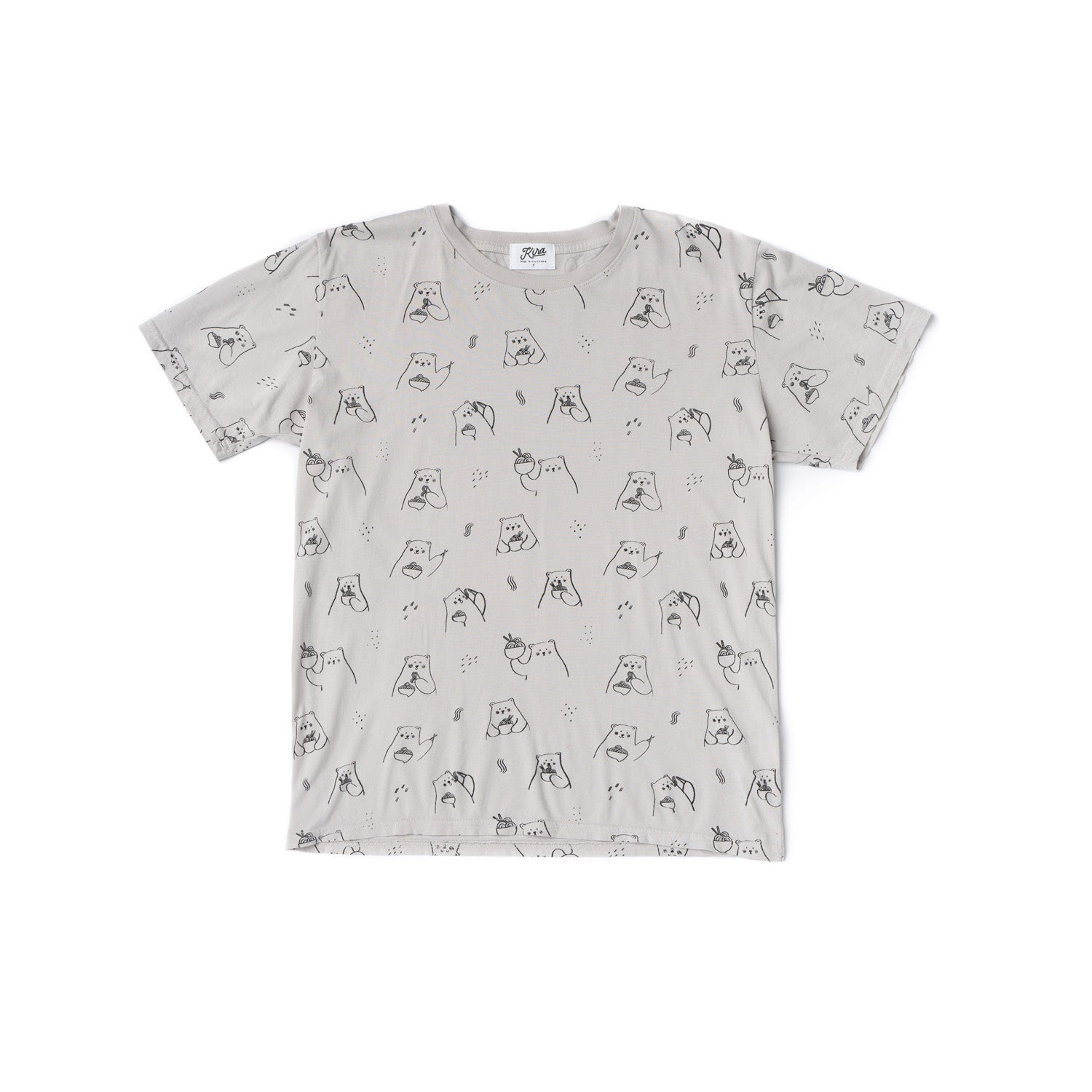 Adult Ramen Bear T-shirt, Light Grey