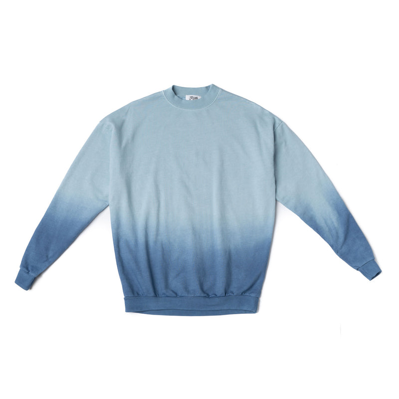 Adult Blue Ombre Tie Dye Crew Neck Sweatshirt