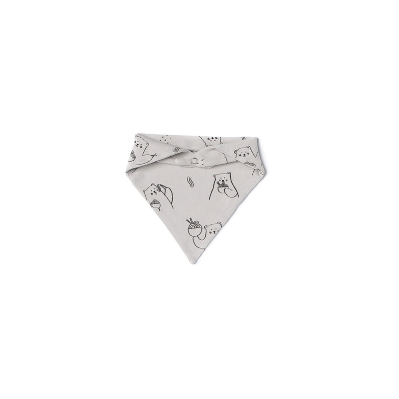 Ramen Bear Bandana Bib, Light Grey