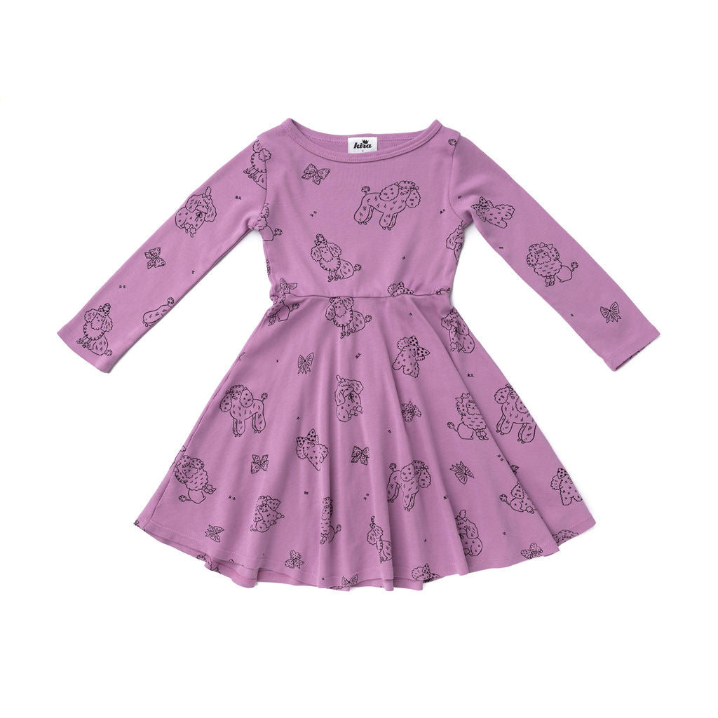 Poodle Long Sleeve Skater Dress, Grape