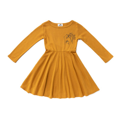 Oishii Long Sleeve Skater Dress, Earth Brown