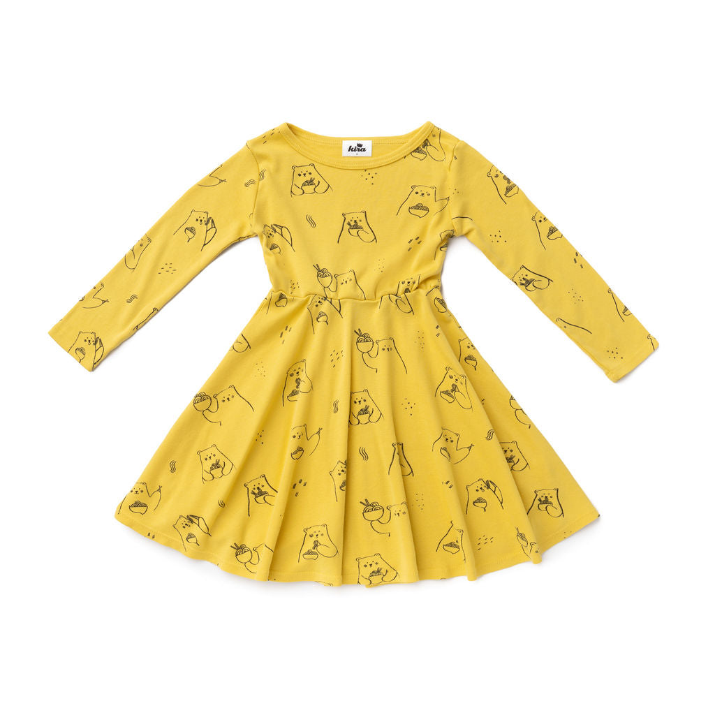 Ramen Bear Long Sleeve Skater Dress, Maize Yellow