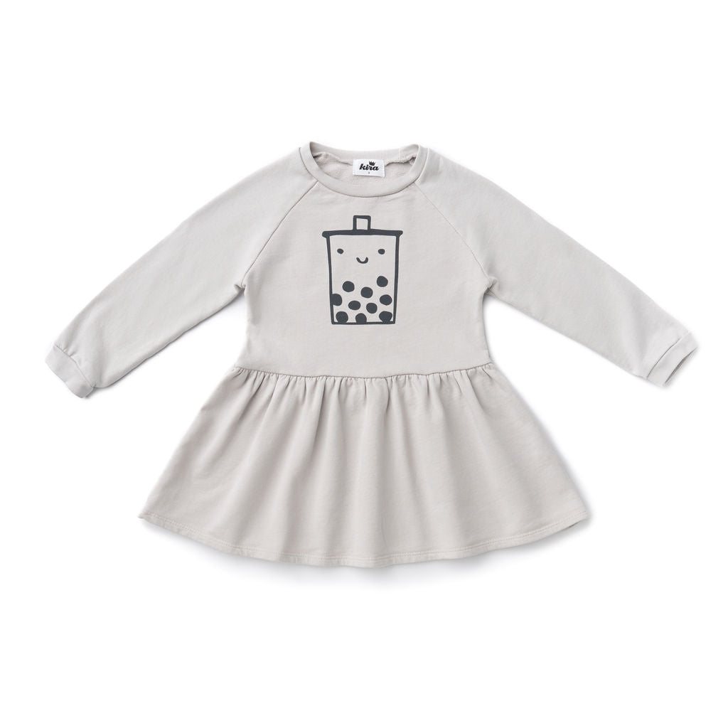 Boba Guy Sweatshirt Dress, Light Grey