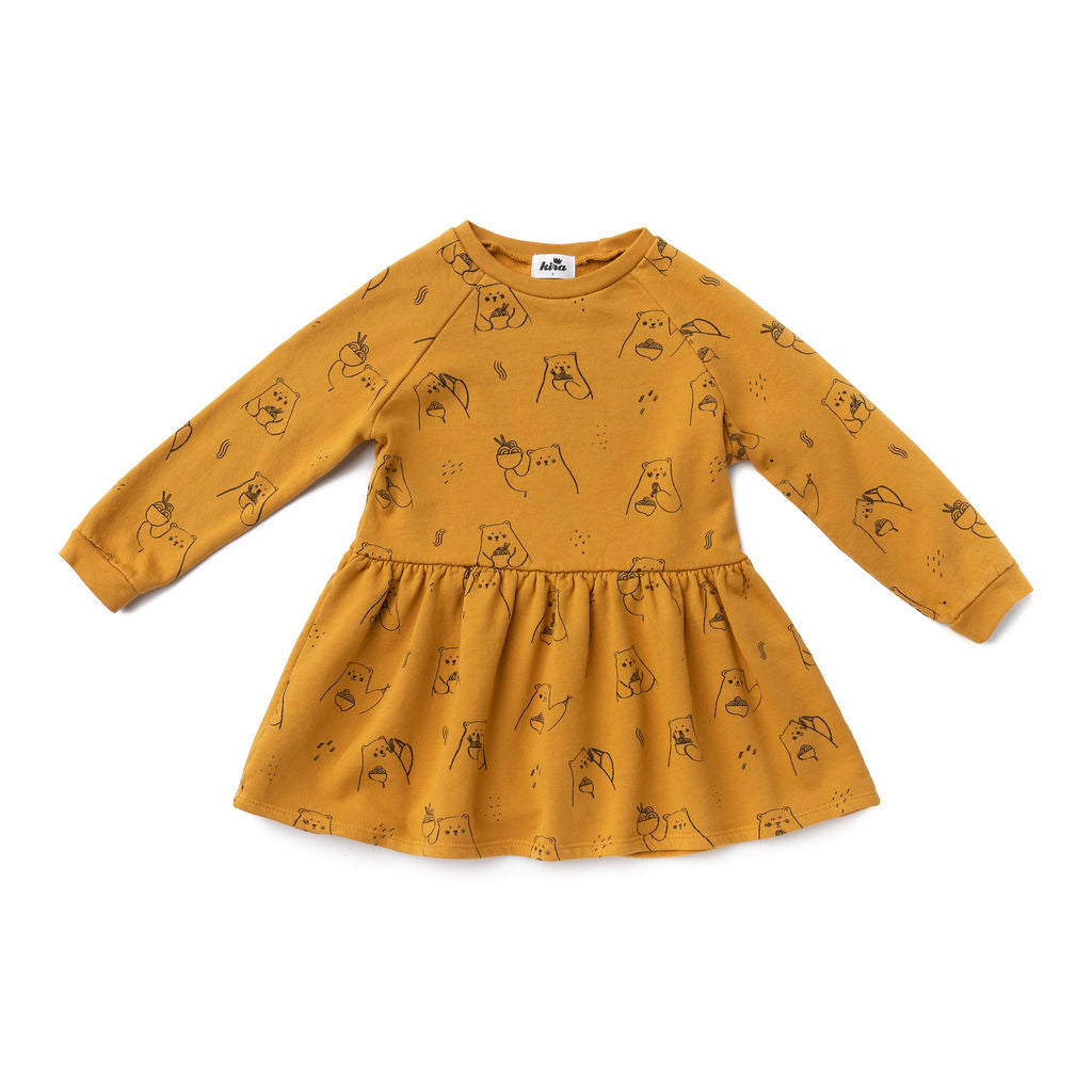 Ramen Bear Sweatshirt Dress, Earth Brown