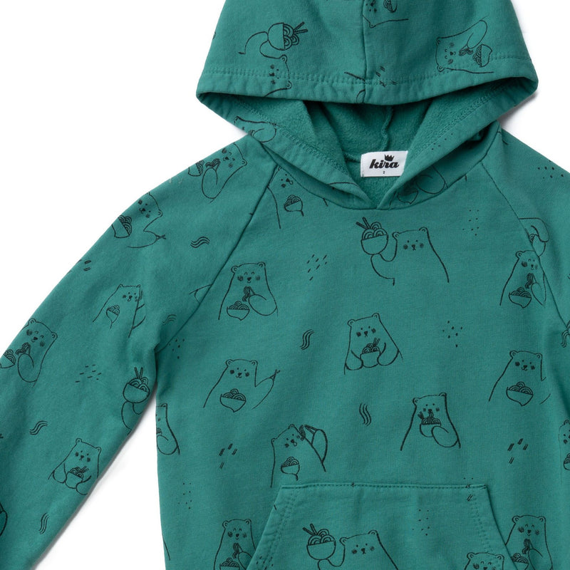 Ramen Bear Hoodie with Pockets, Dark Turquoise