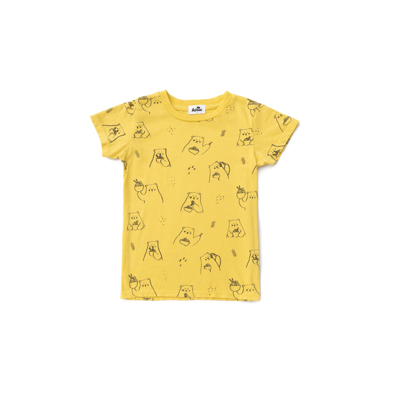 Ramen Bear Short Sleeve T-shirt, Maize Yellow