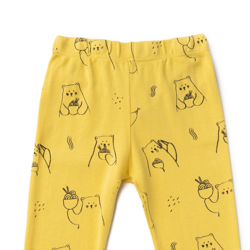 Ramen Bear Leggings, Maize Yellow