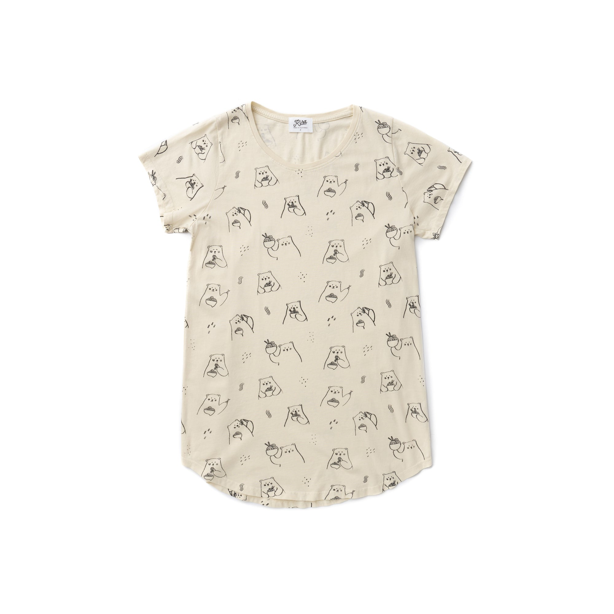 Women's Ramen Bear Tunic T-shirt, Natural