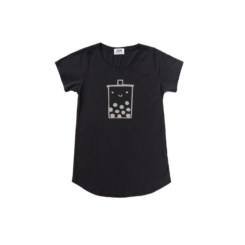 Women's Boba Guy Tunic T-shirt, Charcoal