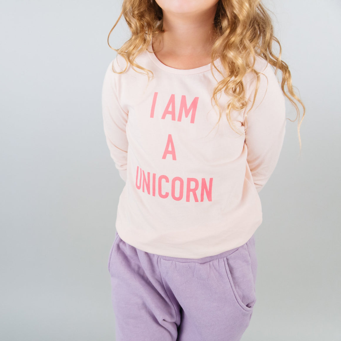 I Am a Unicorn Graphic T-shirt, L/S, Light Pink