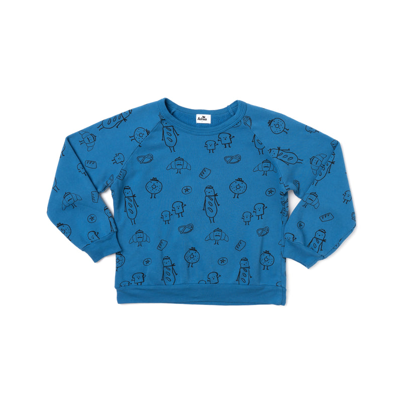 Bread Print Raglan Sweatshirt, Steel Blue