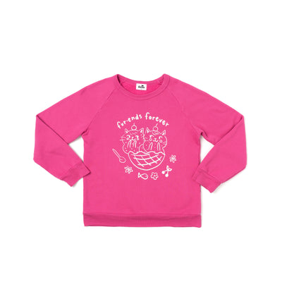 Fur-ends Graphic Raglan Sweatshirt, Rose Pink