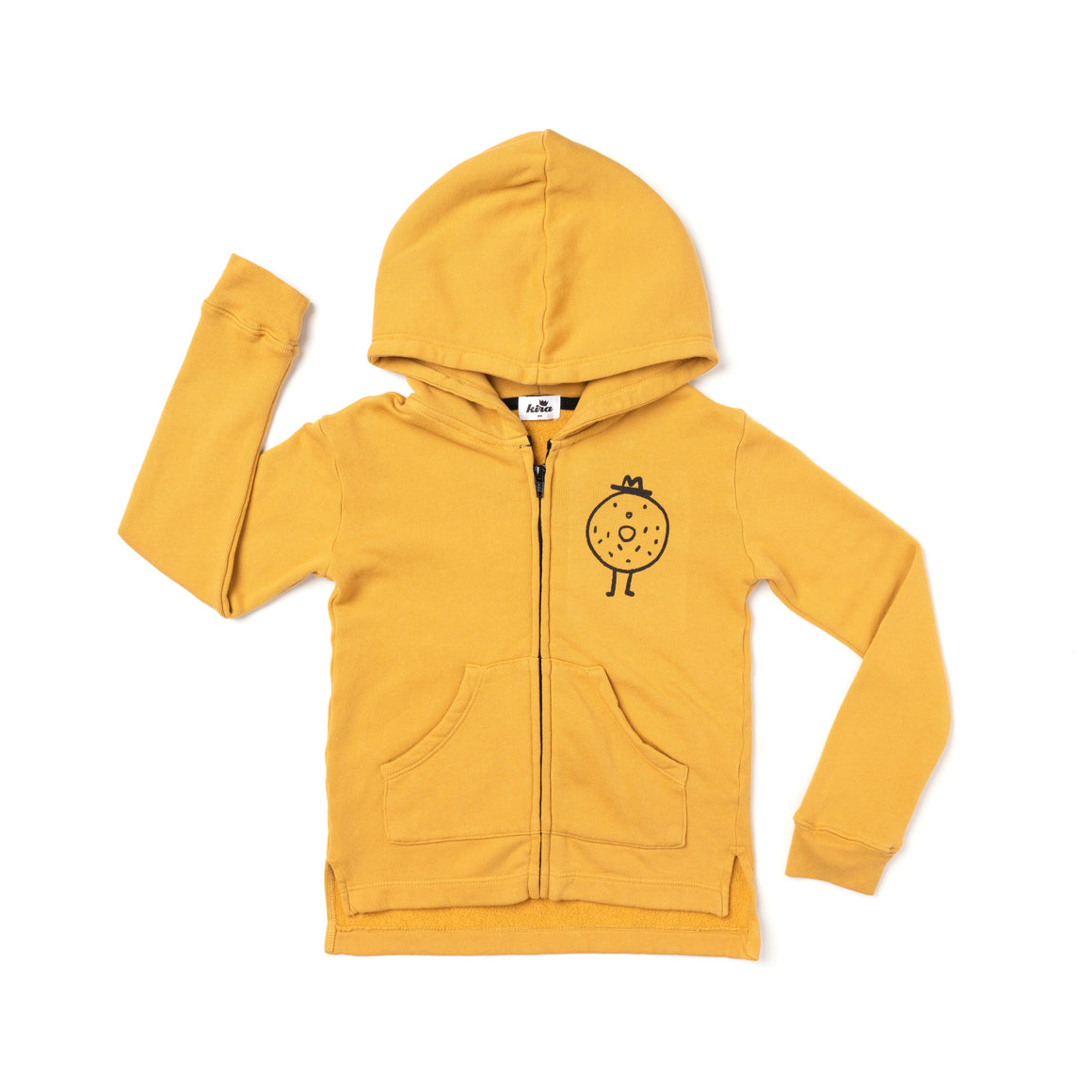 Mr. Bagel Graphic Zip Hoodie, Golden