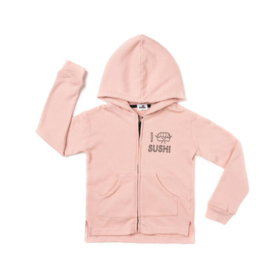 I Love Sushi Graphic Zip Hoodie, Blush