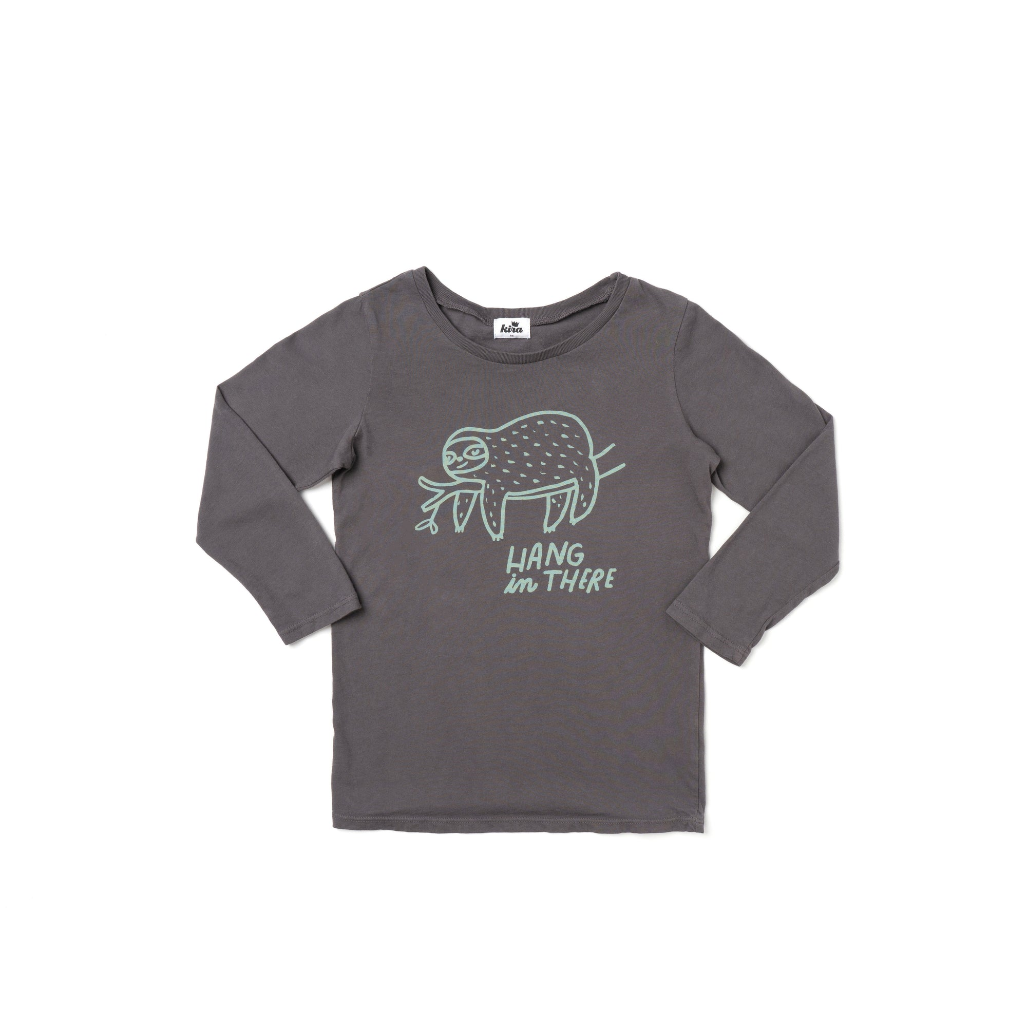 Hang in There Graphic T-shirt, Long Sleeve, Slate