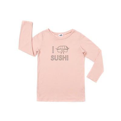 I Love Sushi Graphic T-shirt, Long Sleeve, Blush
