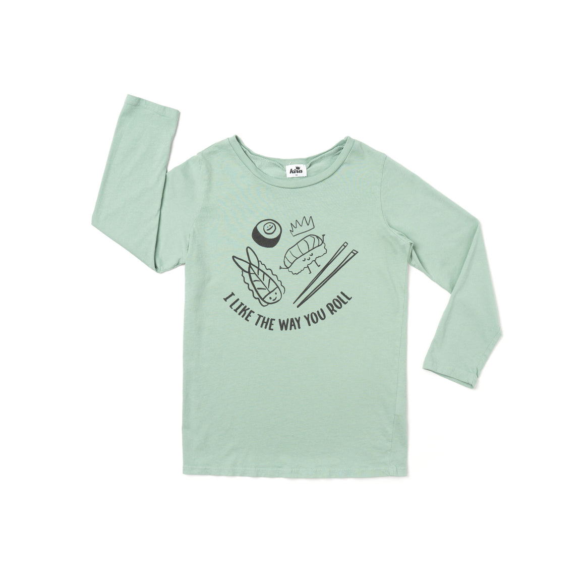 I Like the Way You Roll Graphic T-shirt, Long Sleeve, Celadon