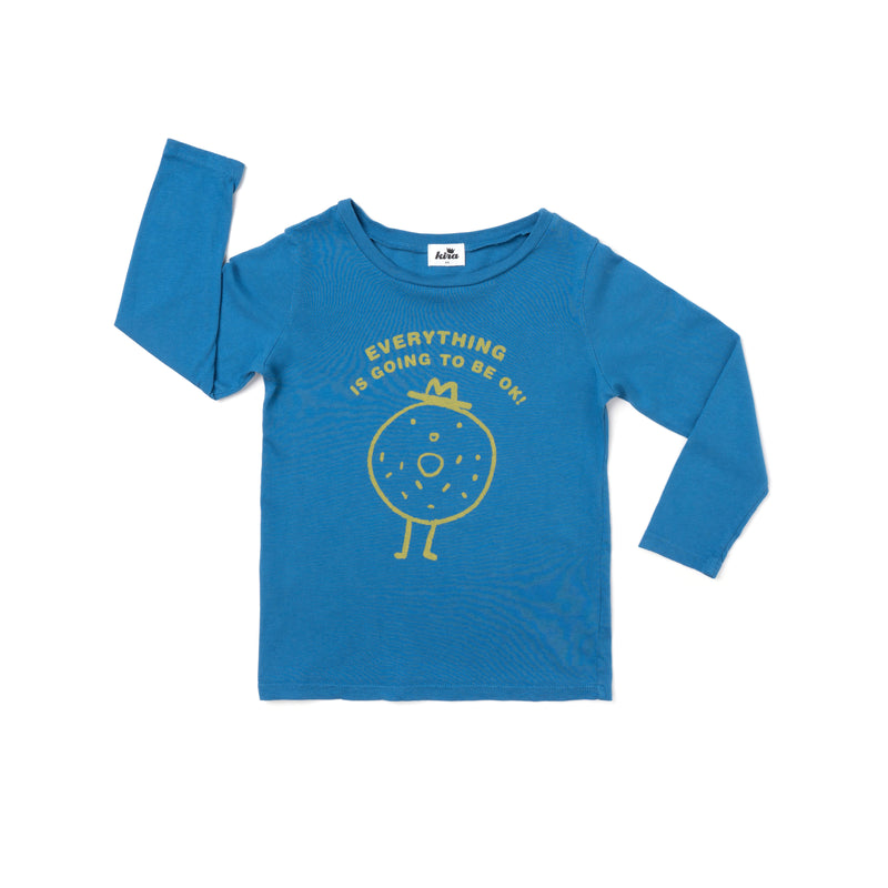 Everything Bagel Graphic T-shirt, Long Sleeve, Steel Blue