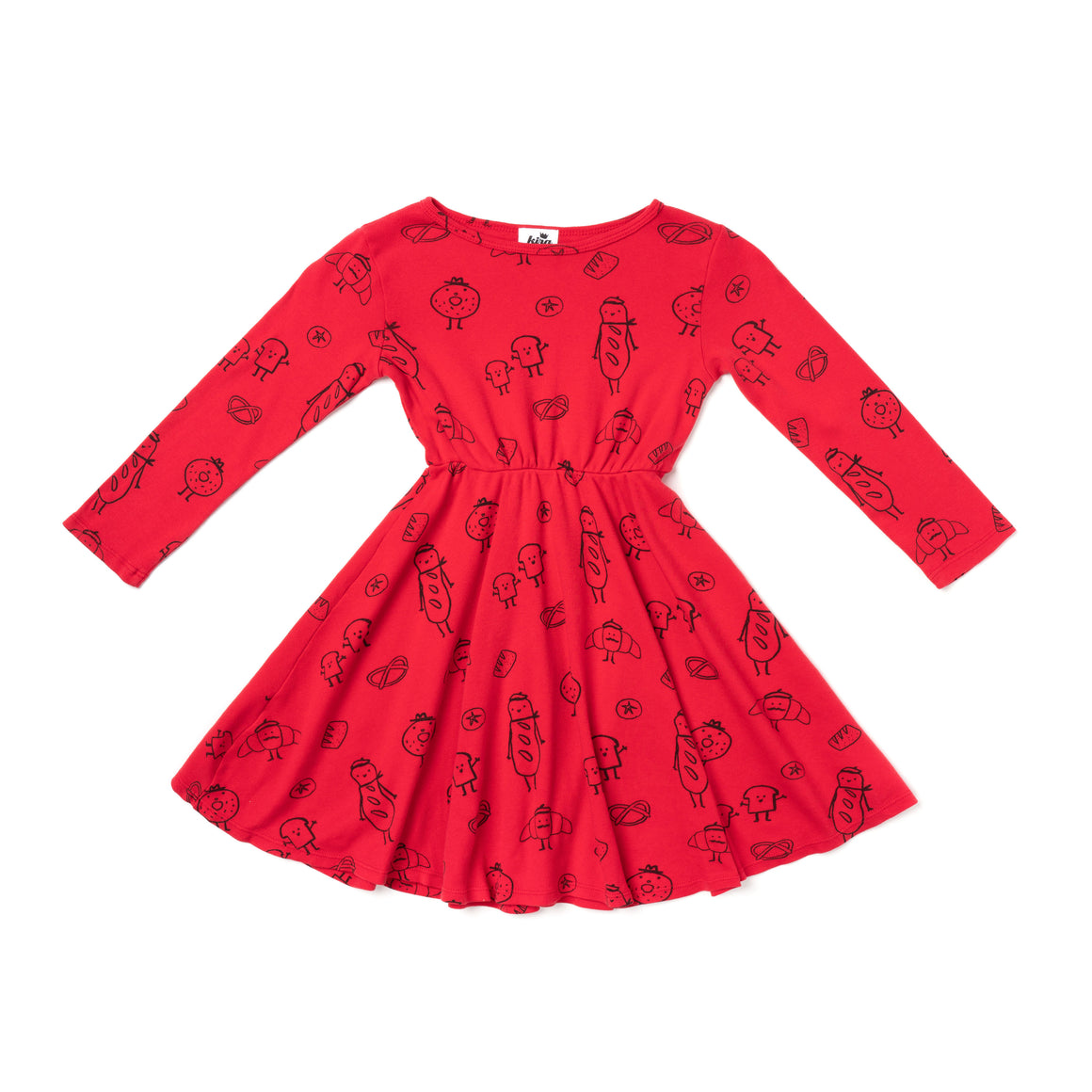 Bread Print Skater Dress, Long Sleeve, Red