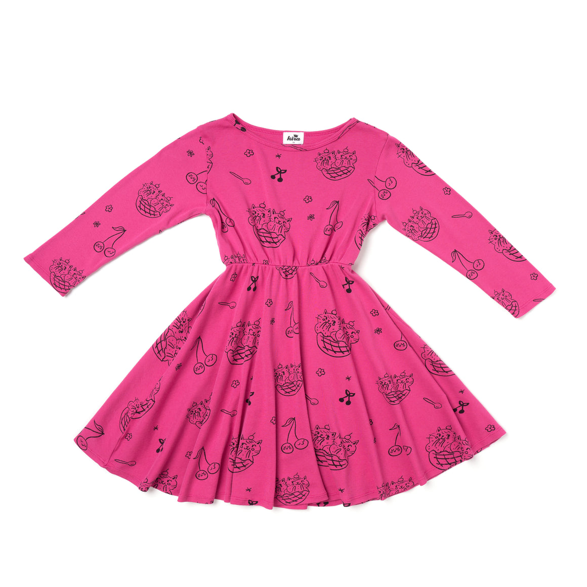 Cat Sundae Print Skater Dress, Long Sleeve, Rose Pink