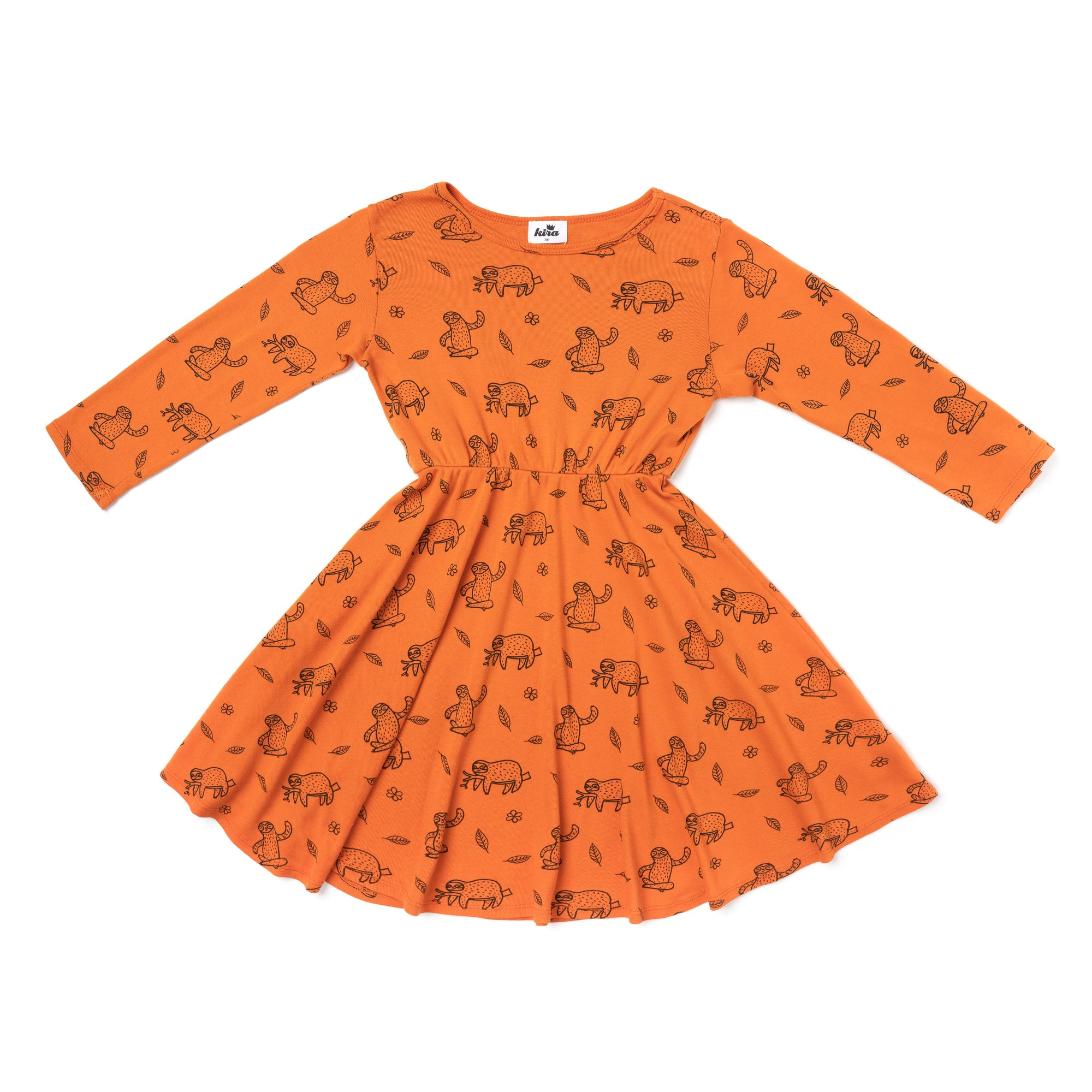 Sloth Print Skater Dress, Long Sleeve, Copper