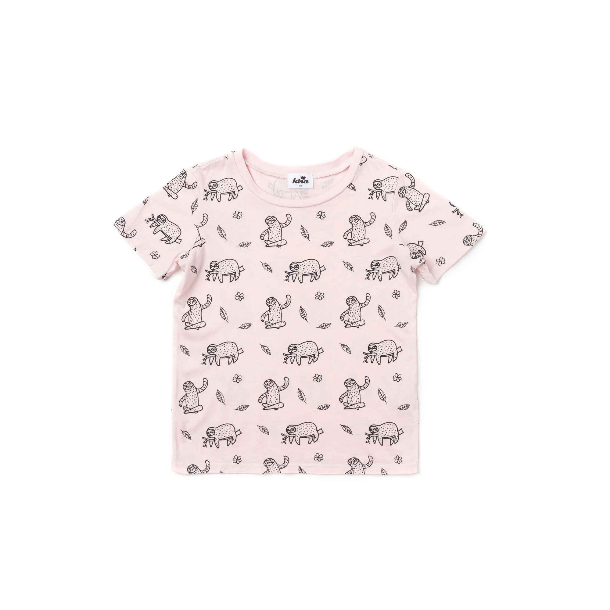 Sloth Print Short Sleeve T-shirt, Powder Pink