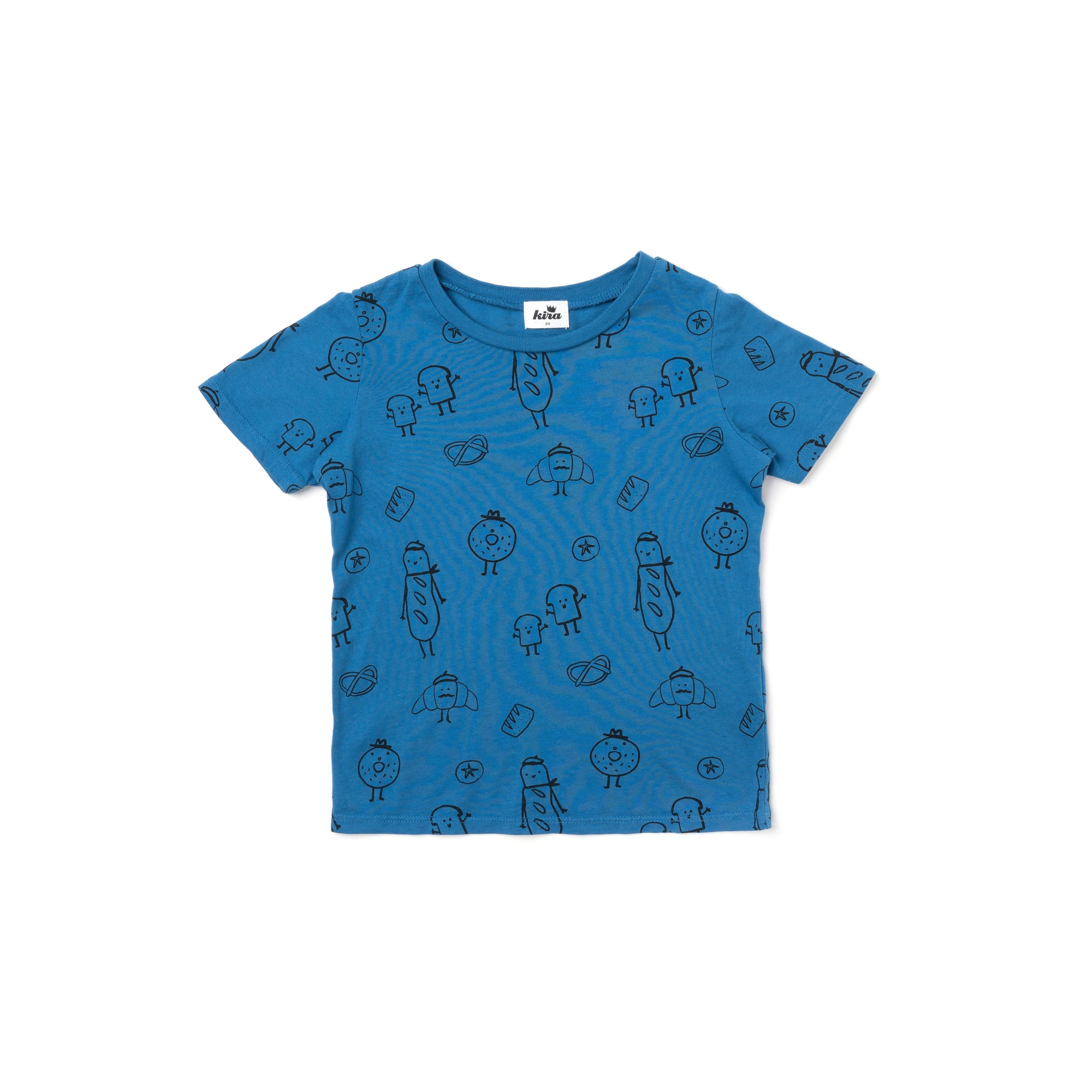 Bread Print Short Sleeve T-shirt, Steel Blue