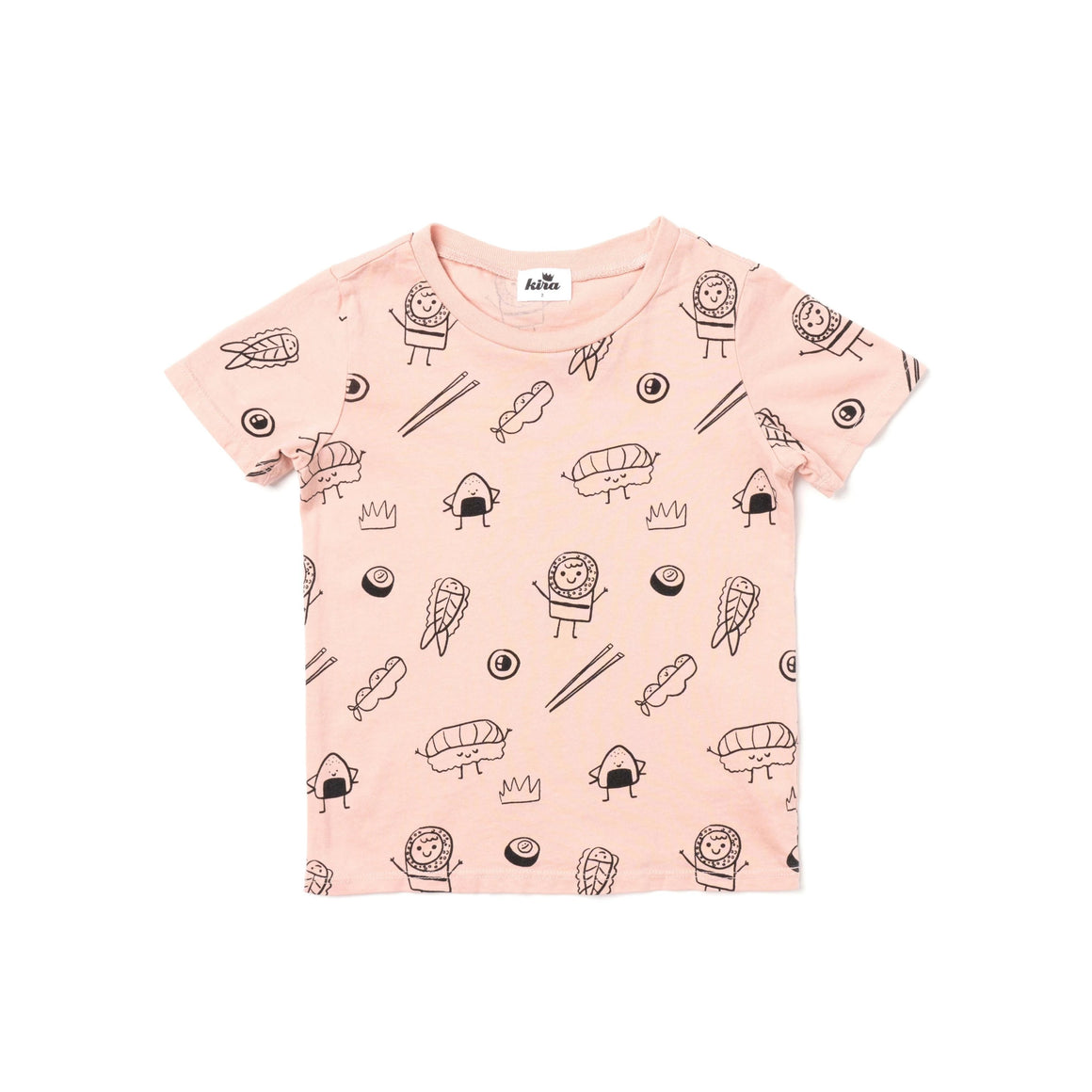 Sushi Print Short Sleeve T-shirt, Blush