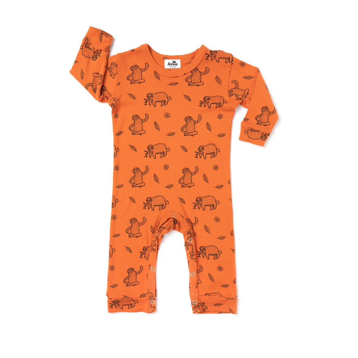 Sloth Print Romper, Long Sleeve, Copper