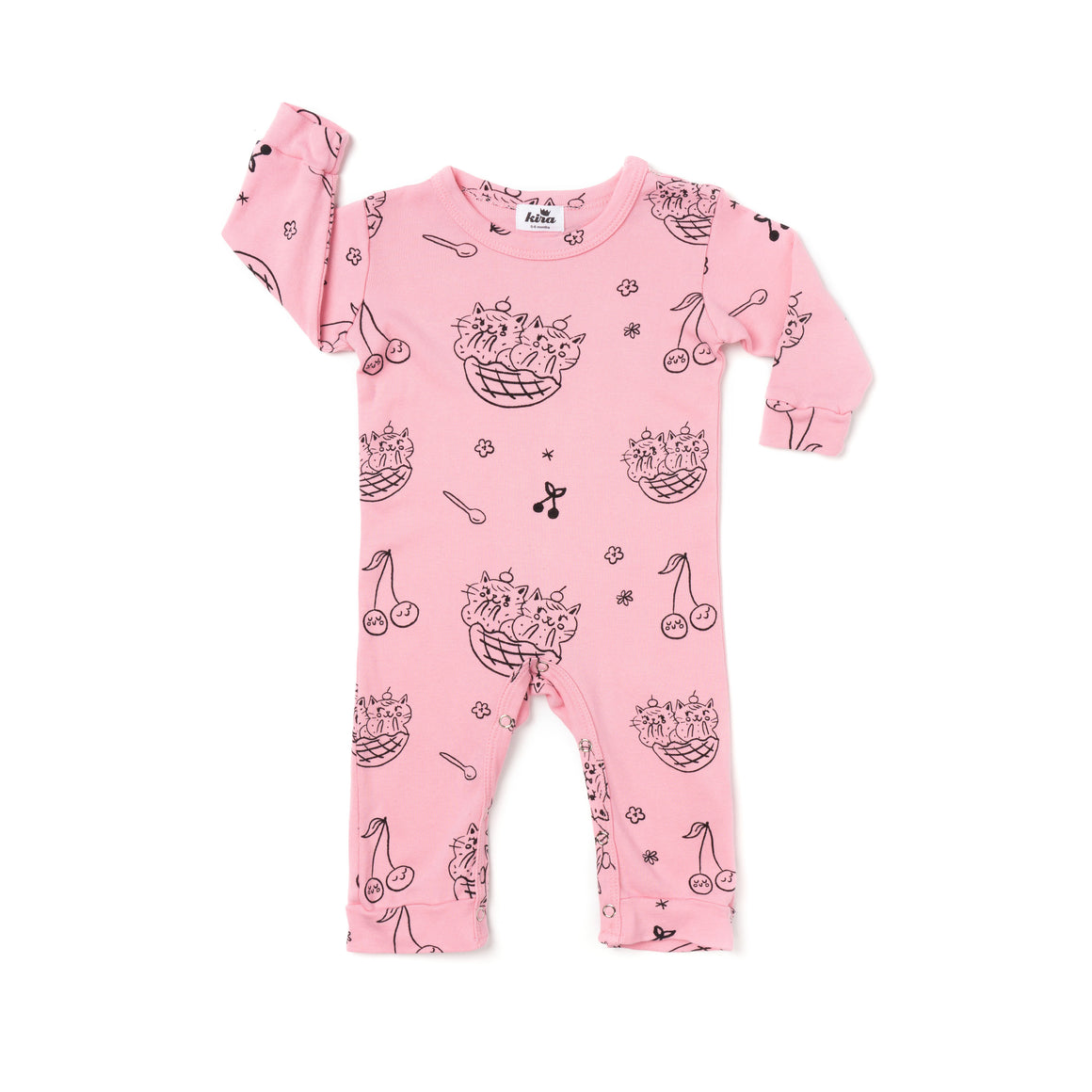 Cat Sundae Print Romper, Long Sleeve, Sweet Heart